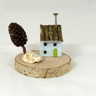 Driftwood House, Miniature House on Wood Slice, Coastal Decor, Grey House