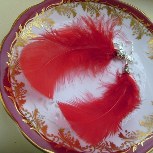 Pack of 10 Scarlet Red Fantasy Feathers with Attachments