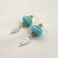 Ornate Murano Style Glass Bead Earrings - Mid Aqua Blue