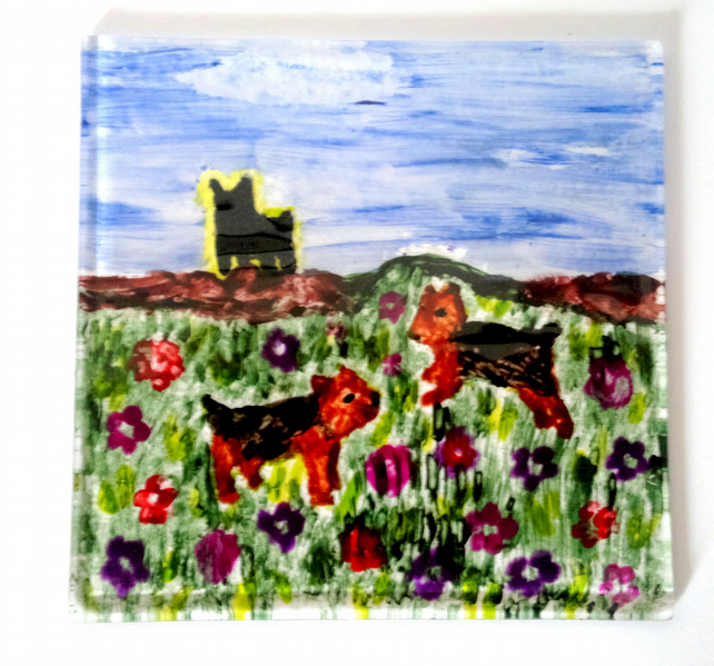 Hand Painted Fused Glass Coaster with Yorkshire Terrier Dog and Flowers Painting