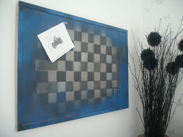 Memo Board, Notice Board with Formula 1 Inspired Grafitti Spray Art