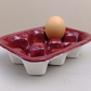 Gift for baker maroon ceramic egg box egg tray pottery kitchen bake ware baking