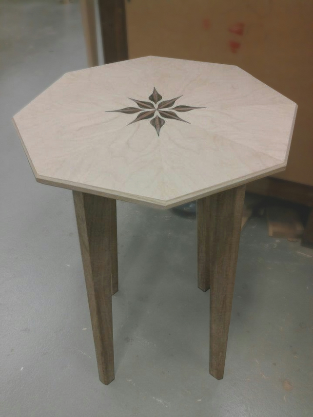 Ash Octagonal Side Table with Floral Marketry