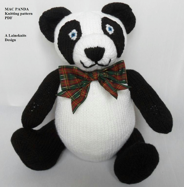 Mac Panda - Teddy Bear Knitting Pattern PDF - Folksy