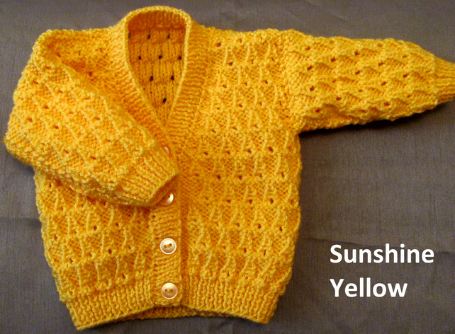 "Sunshine Yellow Cardigan for Newborn Baby (0-2 months) 16"" chest"