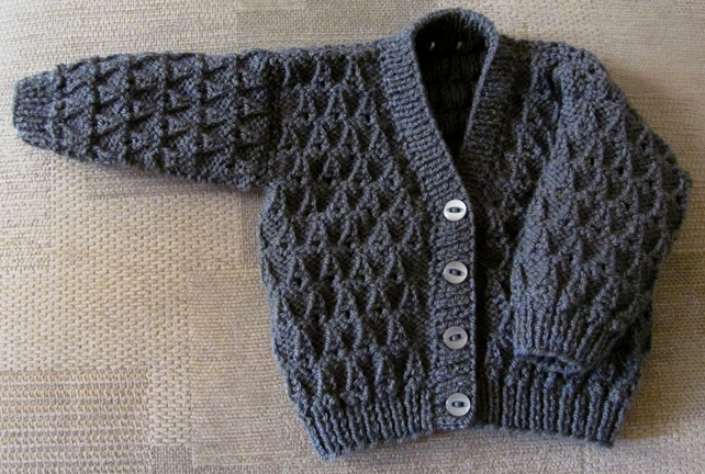 "Graphite Cardigan for Newborn Baby (0-2 months) 16"" chest"