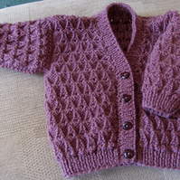 "Grape Cardigan for Newborn Baby (0-3 months) 16"" chest"