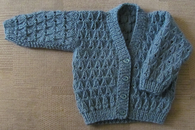 "Storm Blue Cardigan for Newborn Baby (0-2 months) 16"" chest"