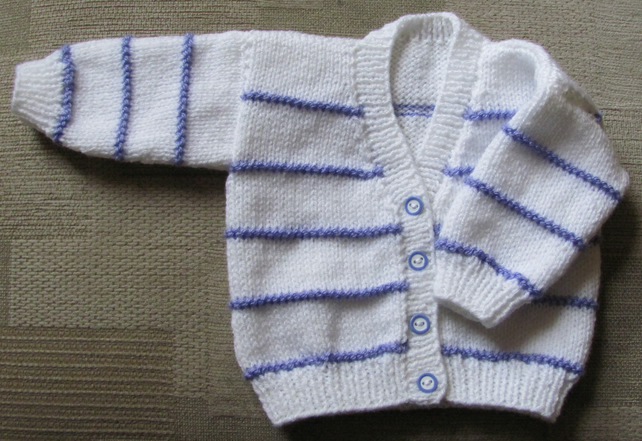 "White with Lavender Stripe Cardigan for Newborn Baby (0-2 months) 16"" chest"
