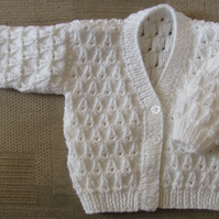 "White Cardigan for Newborn Baby (0-2 months) 16"" chest"
