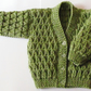 "Meadow Green Cardigan for Newborn Baby (0-2 months) 16"" chest"