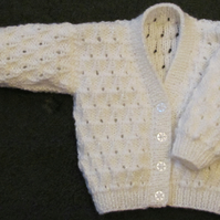 "White 'Sparkle' Cardigan for Newborn Baby (0-2 months) 16"" chest"