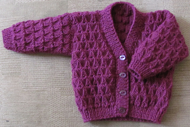 "Plum Cardigan for Newborn Baby (0-2 months) 16"" chest"