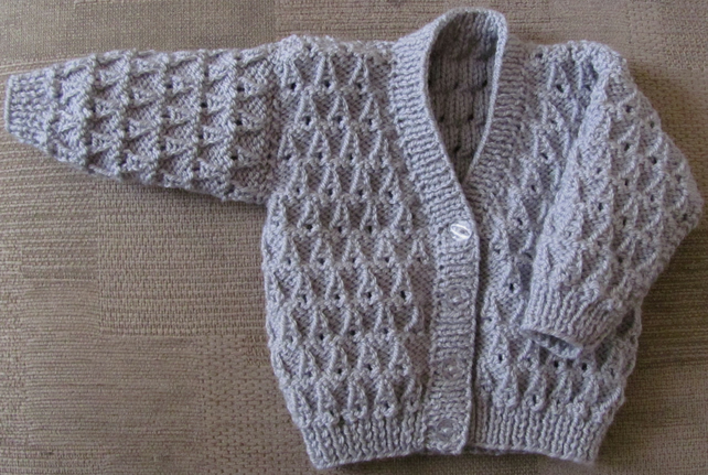 "Light Grey Cardigan for Newborn Baby (0-2 months) 16"" chest"