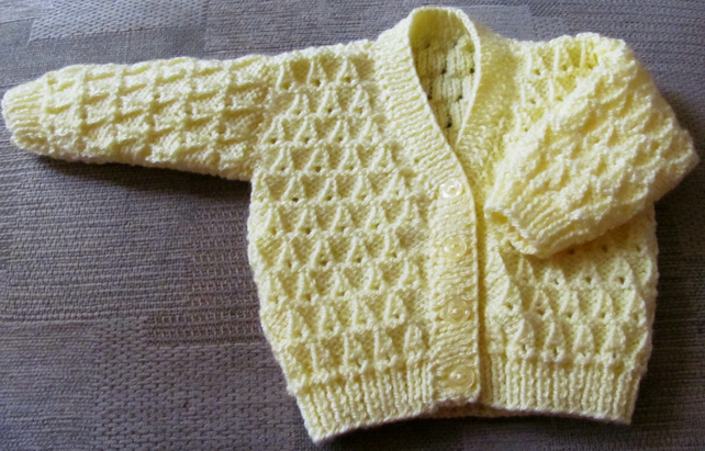 "Lemon Cardigan for Newborn Baby (0-2 months) 16"" chest"