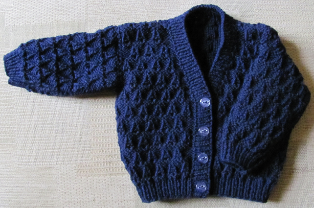 "Navy Blue Cardigan for Newborn Baby (0-2 months) 16"" chest"