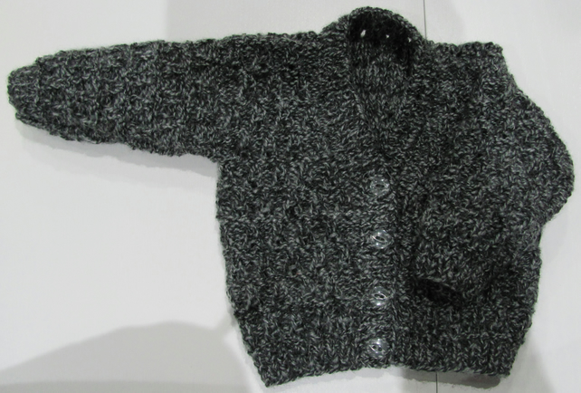 "Charcoal Cardigan for Newborn Baby (0-2 months) 16"" chest"