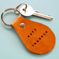 Safe Travels Leather Keyring, Handmade Leather Key Fob, Leather Keychain