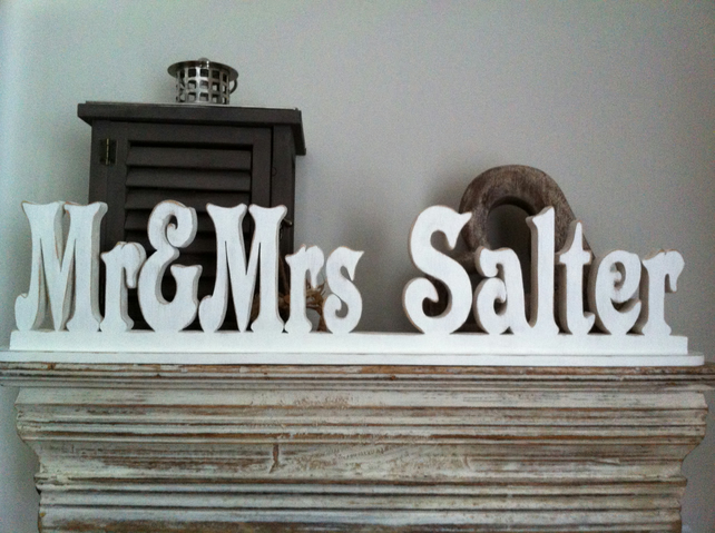Freestanding wedding letters personalised mr folksy for Personalised mr and mrs letters