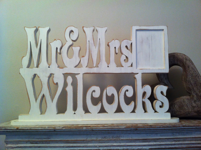 Freestanding wedding letters frame pers folksy for Personalised mr and mrs letters