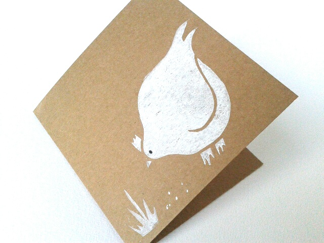 Chicken Card, Blank Hen card, Handprinted white chicken card