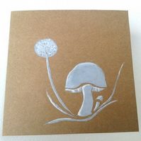 Toadstool and Dandelion Blank Card, Mushroom Card