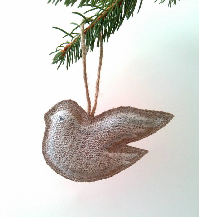 Christmas Decoration. White Dove Hanging Tree Decoration on Linen.