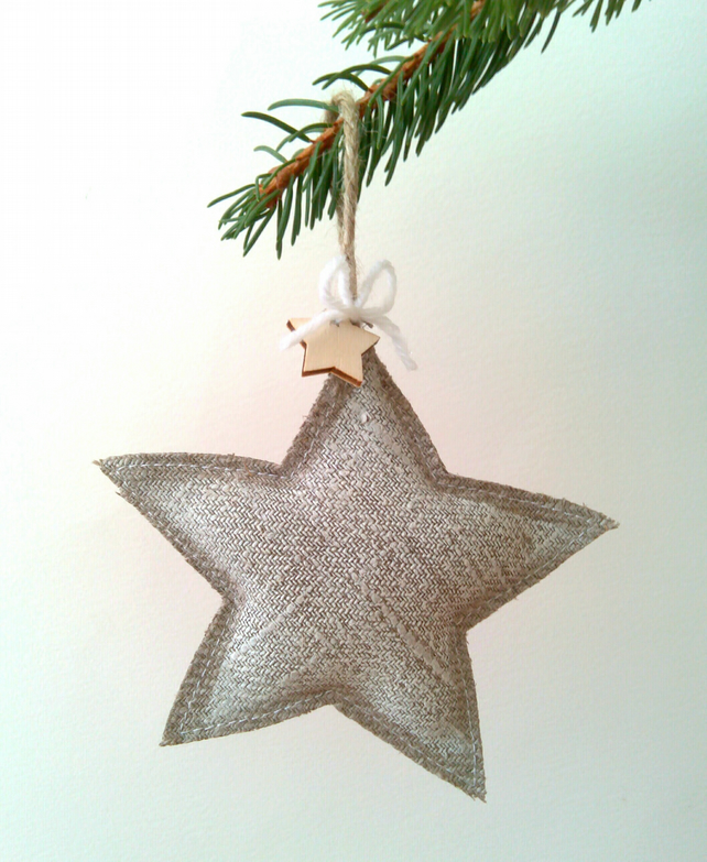 White Star Christmas Tree Decoration on linen. Country Christmas.