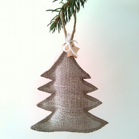 White Christmas Tree Decoration on Linen, Nordic Christmas