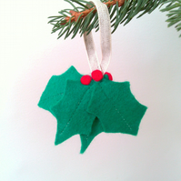 Green Felt Holly Christmas Tree Decoration, Country Christmas