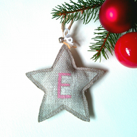 Personalised White Star Christmas Tree Decoration on Linen with Initial