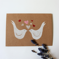 Linoprinted Love Birds on a Brown Blank Card, Valentines, Wedding Card