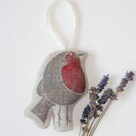 Robin Linen Lavender Scented Hanging Decoration Christmas Robin Decoration