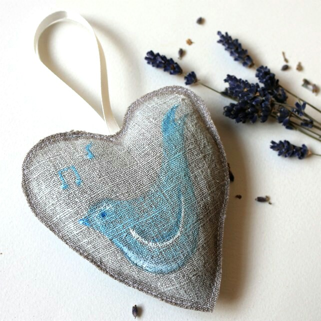 Linen Lavender Scented Heart with Blue Bird
