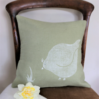 Green Linen Cushion with Printed Hen Design, Handprinted Linen Chicken Cushion