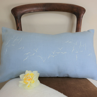 Light Blue Linen Cushion 50cm x 30cm. Hand printed Birds in the Sky Cushion