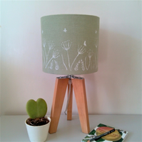 Green Linen Lampshade 20cm Diameter. Hand printed Drum Linen Tabletop Lampshade