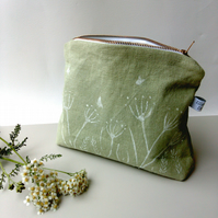 Tall Sage Green Linen Zippered Pouch. Hand printed Floral design.