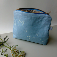 Tall Sky Blue Linen Zippered Pouch, Handprinted Large Purse with flying birds.
