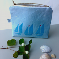Blue Linen Tall Zippered Pouch, Flat Bottom Pouch with Hand printed Sailboats
