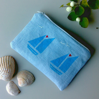 Blue Linen Sailboat Zippered Purse, Handprinted Linen Blue Purse