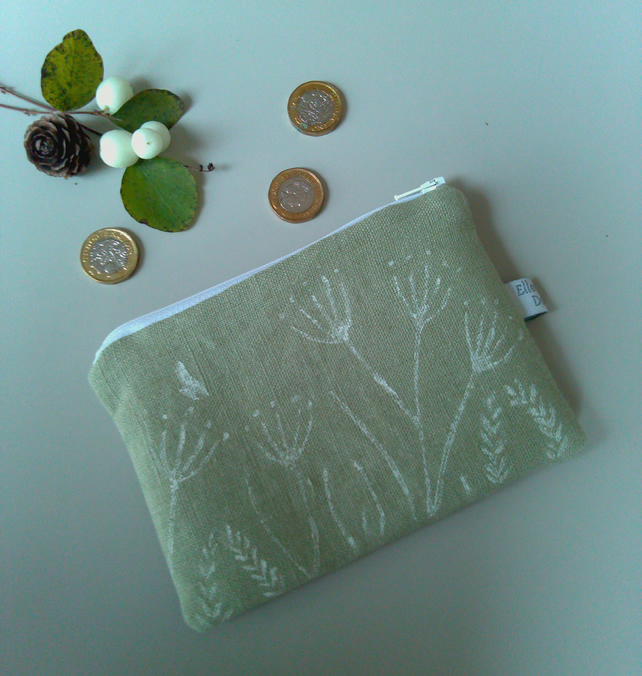 Green Linen Zip Purse, Hand printed Linen Coin Purse with Spring flowers design