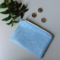 Blue Linen Zip Purse with flying birds design. Hand printed Linen Pouch