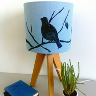 Blue Linen Drum Lampshade with Hand printed Birds for Table Lamp