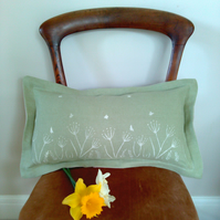 Green Linen Cushion with Floral Spring Print, Sage Green Hand printed Cushion