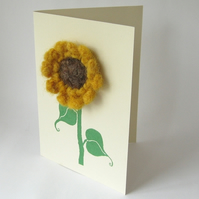 sunflower brooch card - ivory