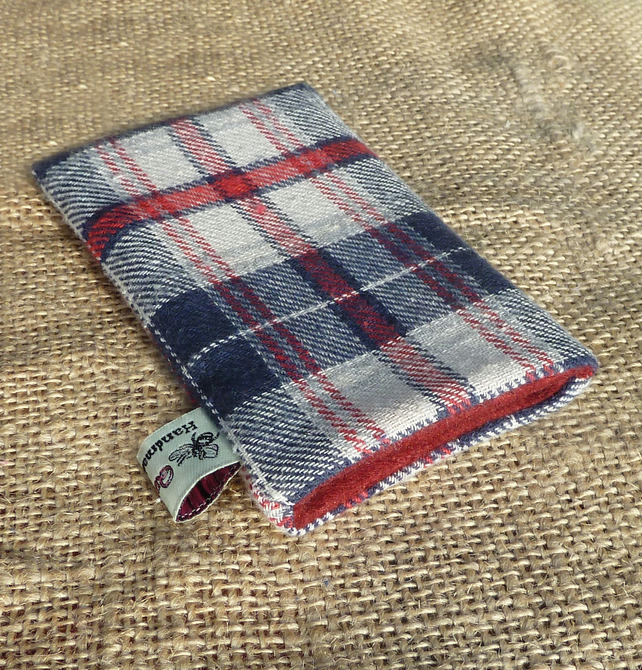 Phone Case: Brushed Cotton Navy & Red Tartan