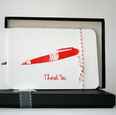 Box of 8 Handprinted 'Thank You' Luxury Postcards