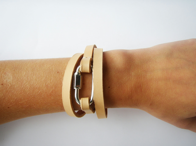 Hand Crafted Leather Wrap Bracelet by Chloe Stanyon Design on Folksy