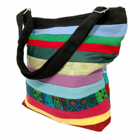 Stripy shoulder bag, rainbow striped  bag, coloiurful bag, zipped bag, bag